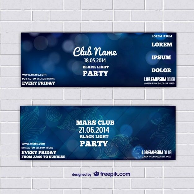 Ticket template banners with blue abstract background Free Vector - party ticket template free