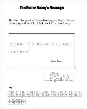 the easter bunny 39 s message free easter worksheet for kids easter pinterest worksheets. Black Bedroom Furniture Sets. Home Design Ideas