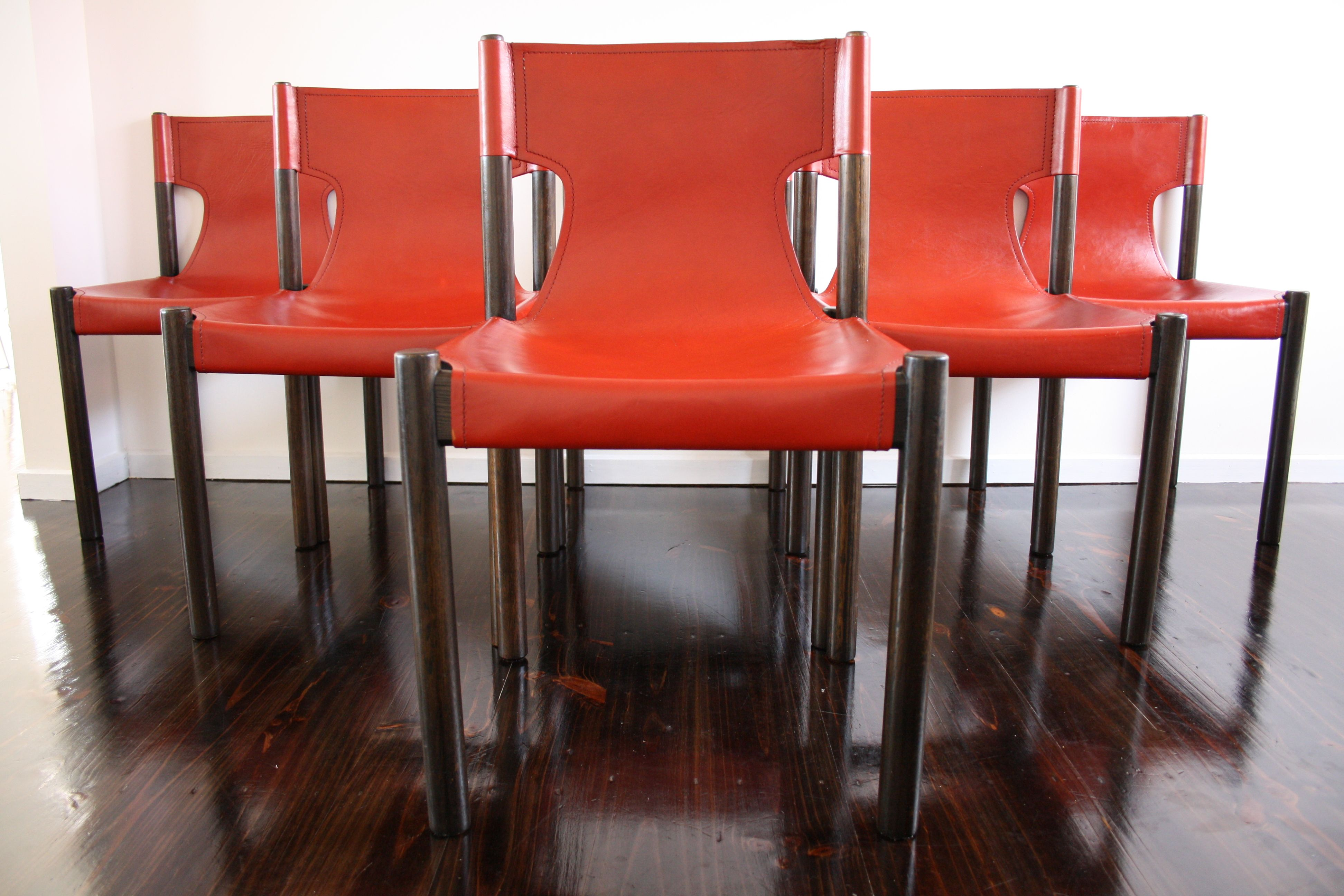 Terrific Fler Mid Century Red Leather Slingback Dining Chairs Retro Dailytribune Chair Design For Home Dailytribuneorg