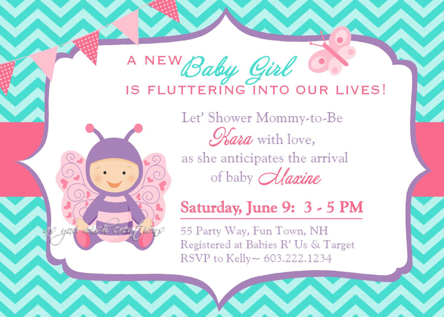 Baby Shower Invitations Butterfly Pink And Brown | New Invitations ...