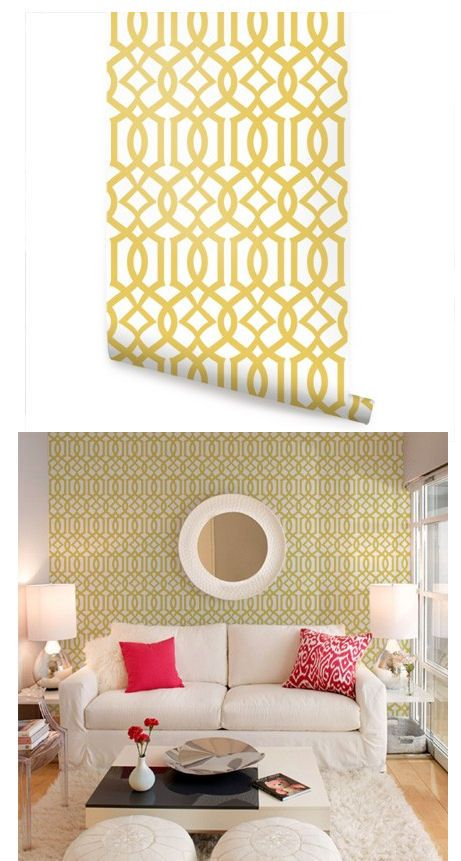 Modern Trellis Yellow Peel and Stick Wallpaper - Wall Sticker Outlet ...
