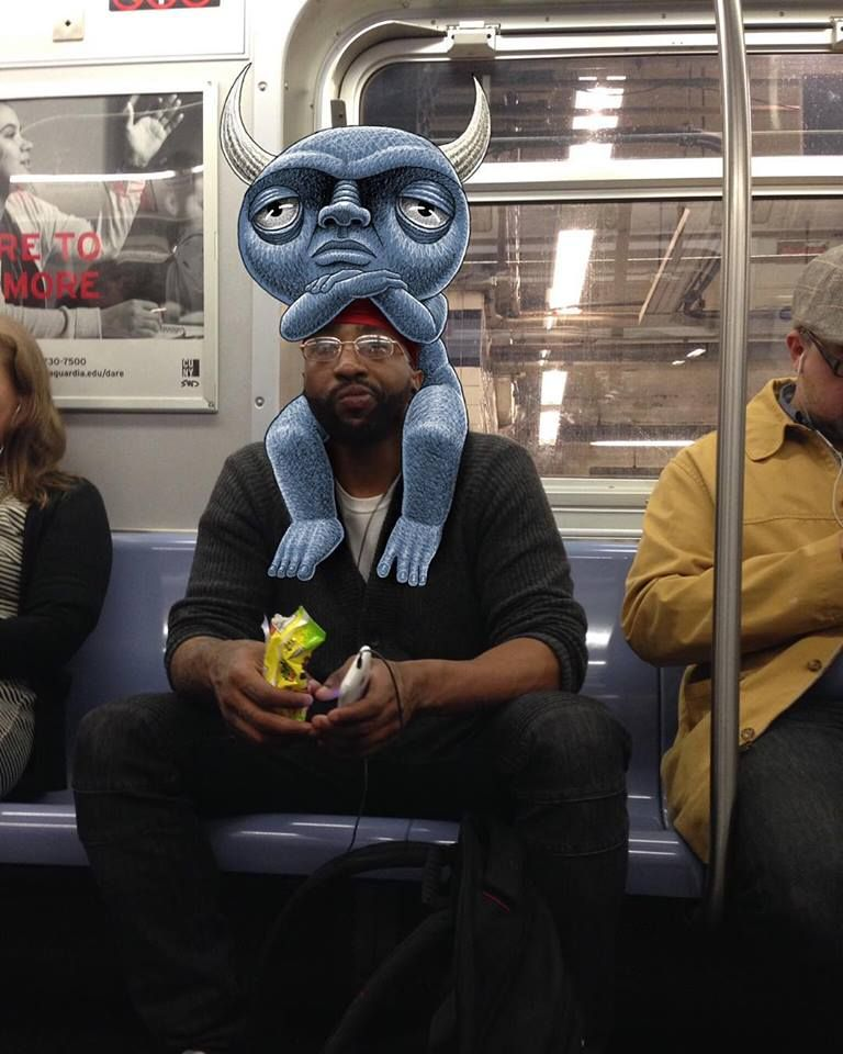 """Doodles from New York City Subway.  Reminiscent of Maurice Sendak's """"Where the Wild Things Are."""""""