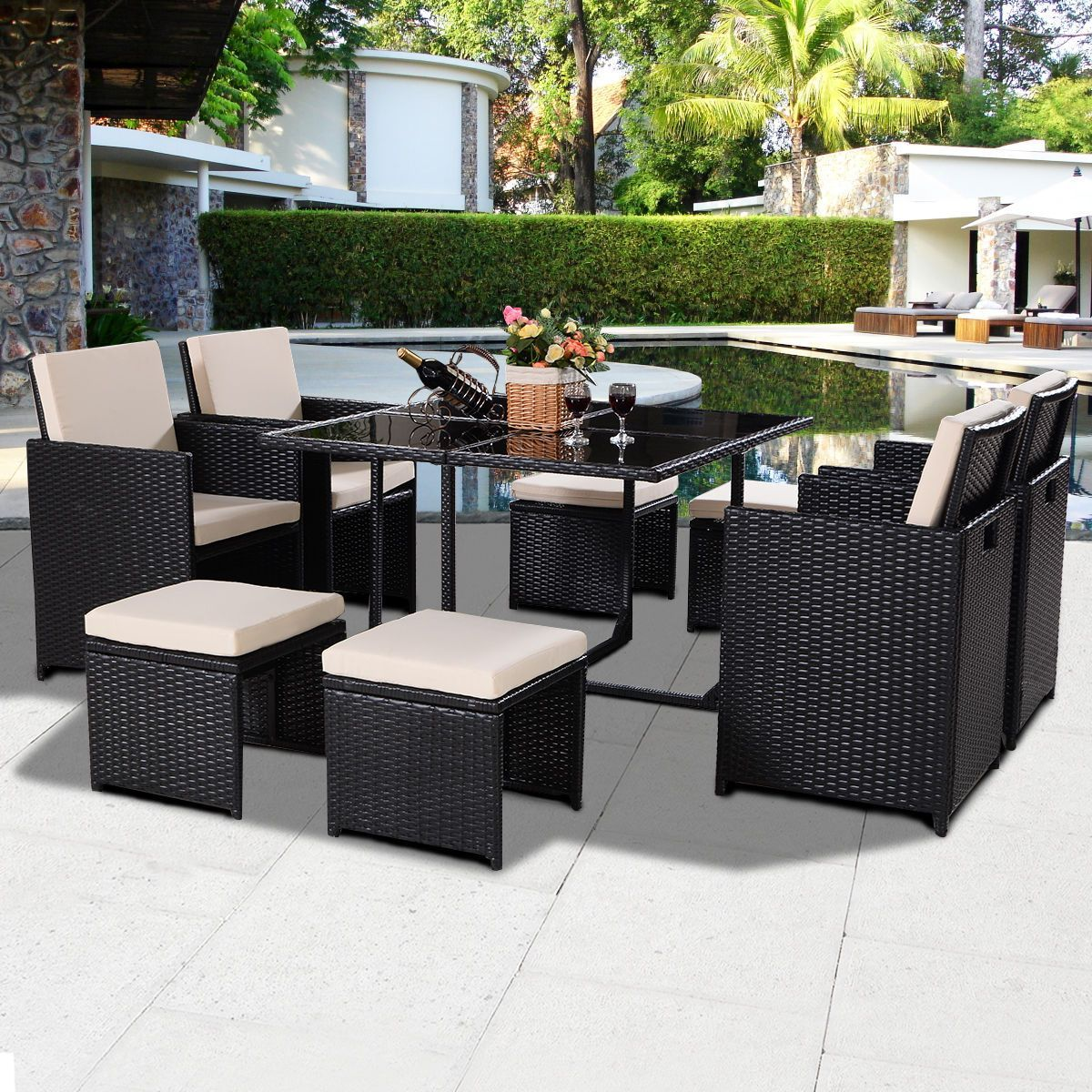 Large 9 Pcs Black Patio Garden Rattan Wicker Sofa Set Modern Outdoor Furniture Set C Wicker Patio Chairs Wicker Patio Furniture Sets Wicker Patio Furniture Set