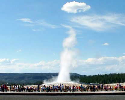 Old Faithful--Yellowstone National Park---so exciting the first time you see it erupt!!