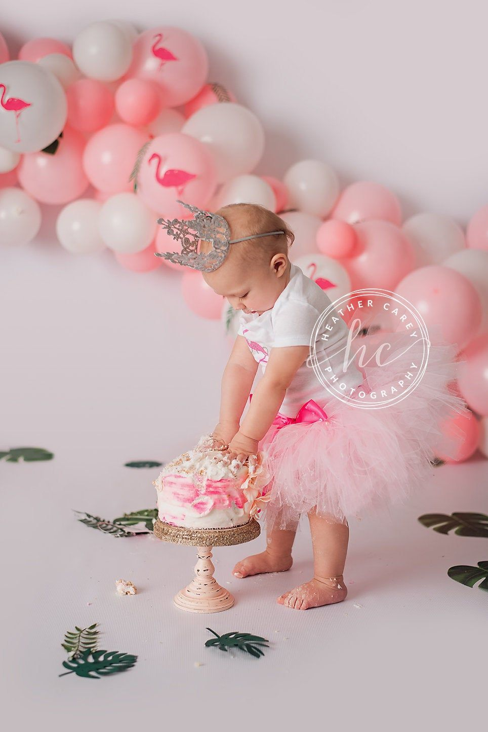 Flamingo Cake Smash Outfit 1st Birthday Girl First