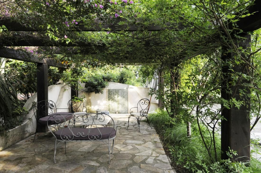 Garden Furniture Traditional french country casual homes | pergola with cast iron outdoor