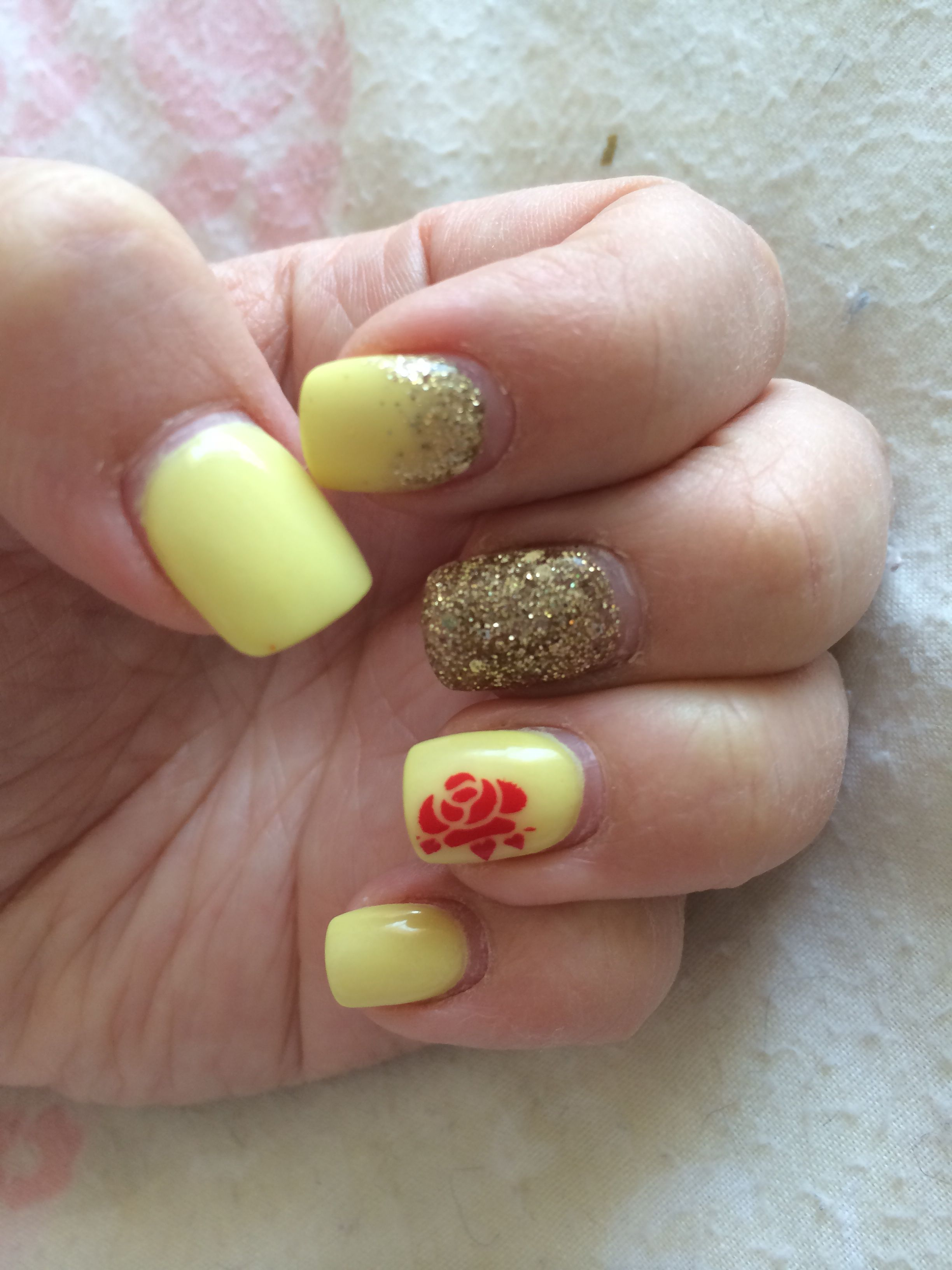 Disney Beauty and the beast themed nails. Acrylic nails with stamp ...