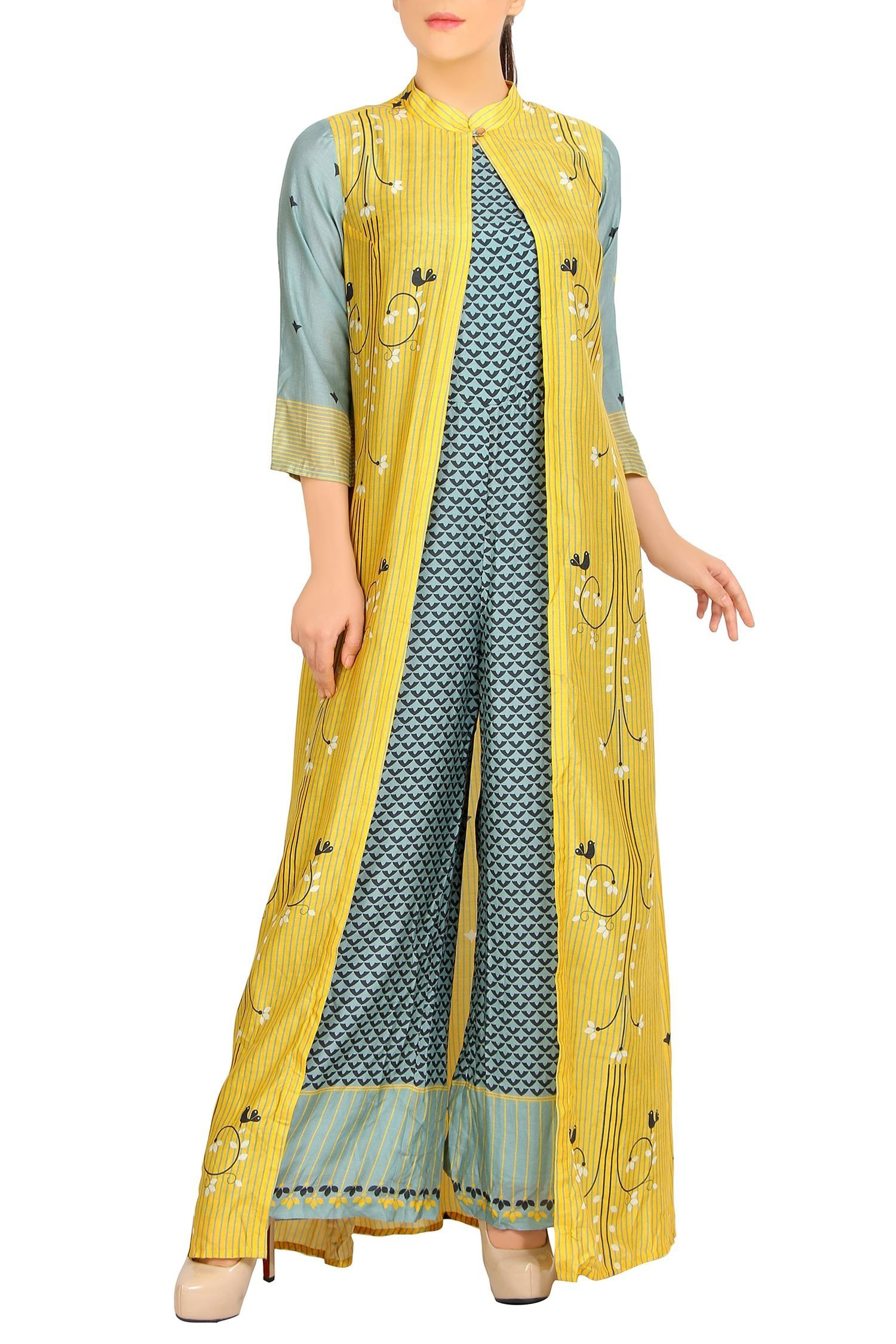 e1997dbaa5f8 Shop SOUP by Sougat Paul - Blue chanderi jumpsuit   printed jacket Latest  Collection Available at Aza Fashions