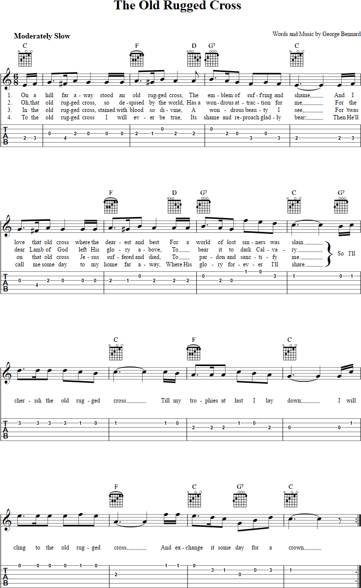 The Old Rugged Cross Guitar Tab