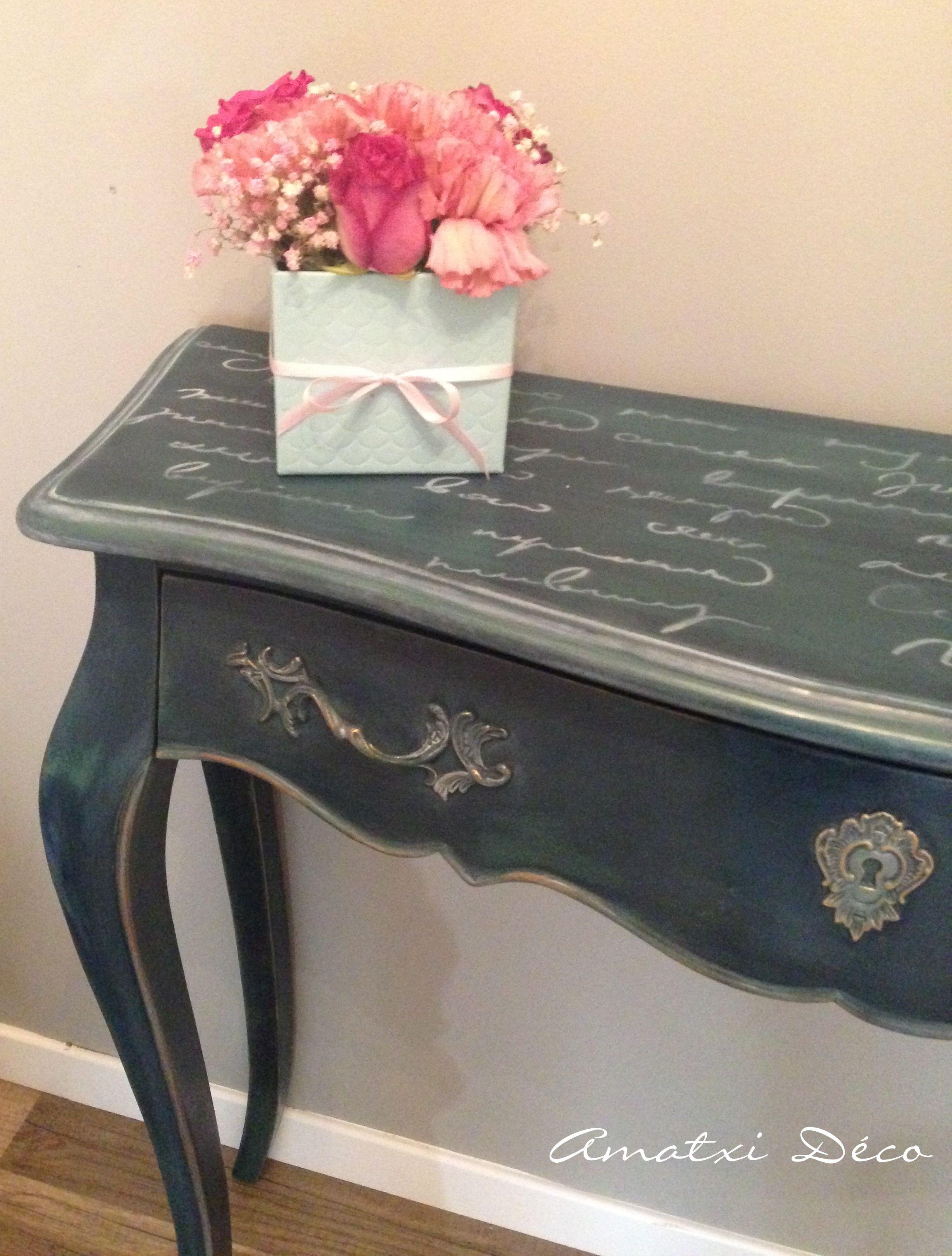 Console peinte par amatxi d co avec la chalk paint d - Pochoir peinture meuble ...