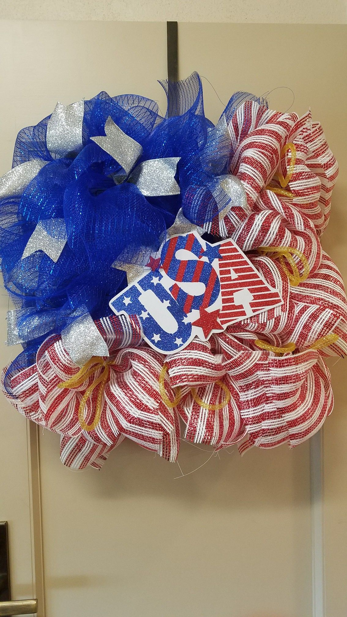 Patriotic Square Wreath Square Wire Frame Covered With Blue, Red&White