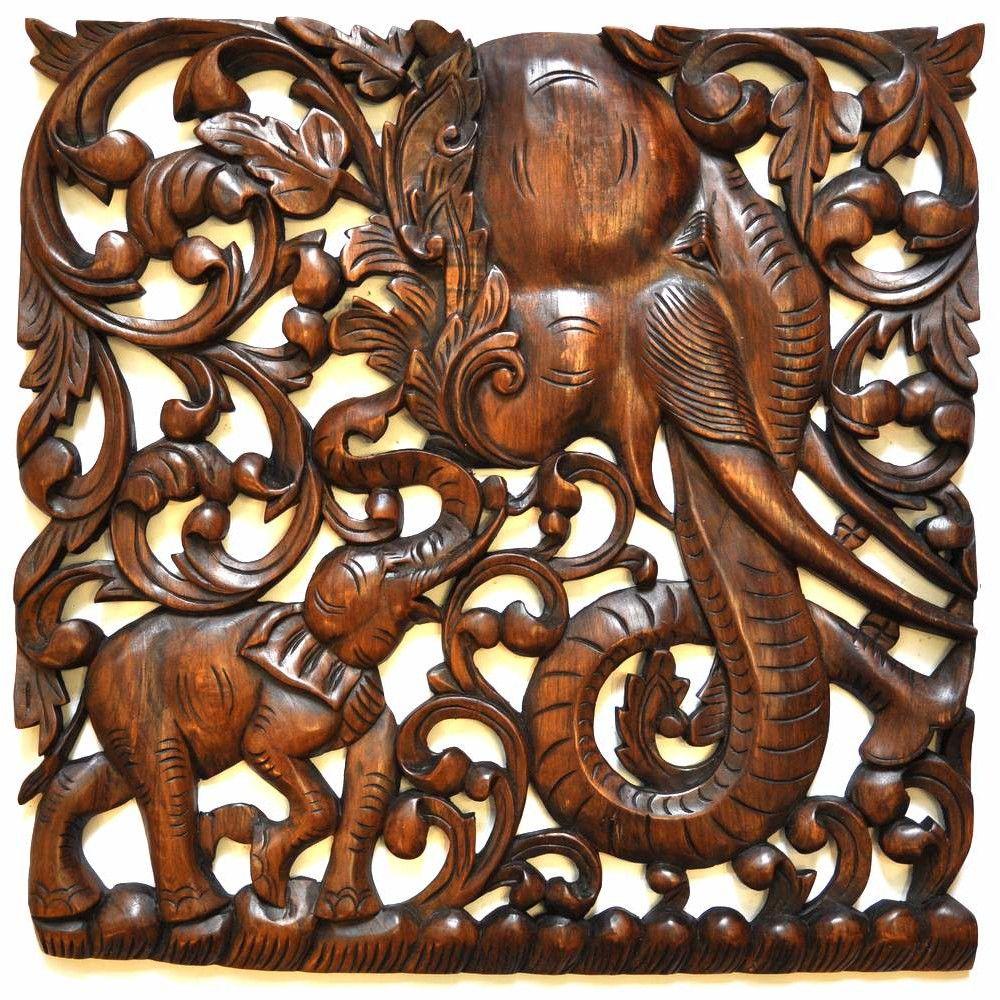 relief teak holz wandbildrelief elefant 60x60cm rechts. Black Bedroom Furniture Sets. Home Design Ideas