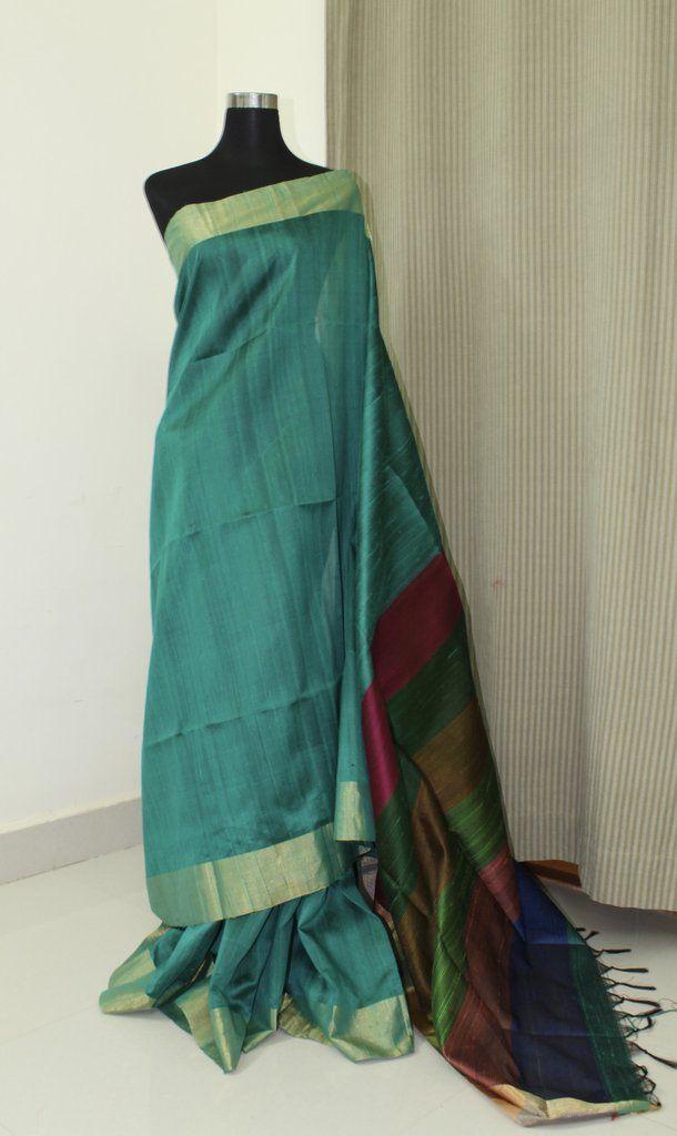 41f5e90f3b408 Handloom pure raw silk saree with contrast blouse