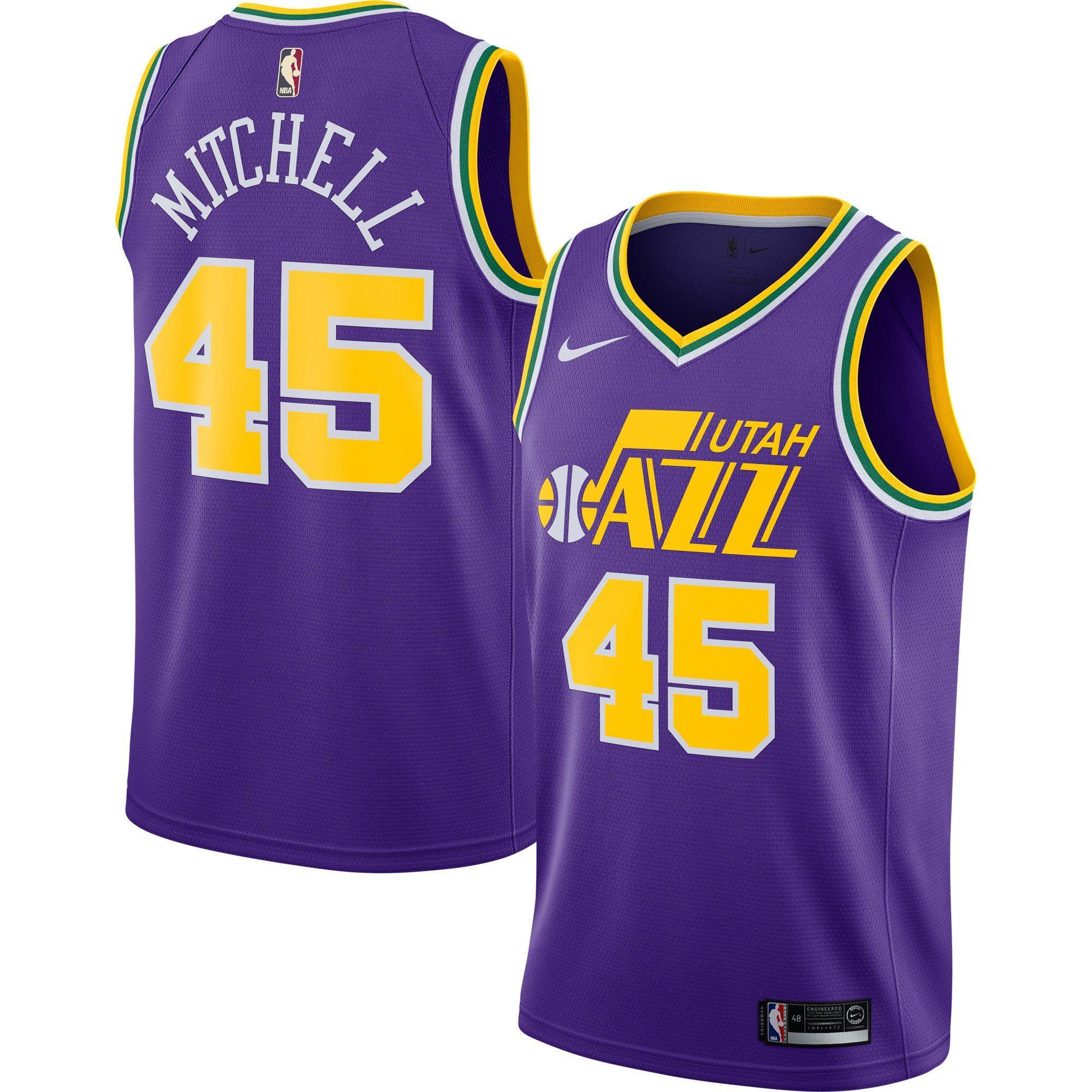 new arrival 7162c f0f45 Men's Utah Jazz Donovan Mitchell Nike Purple Hardwood ...