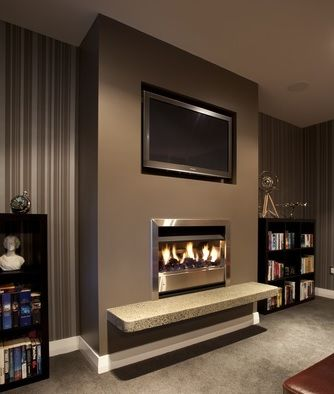 Brown Feature Wall Teamed With Stripped Wallpaper Gives A Great Effect Feature Wall Living Room Media Room Colors Family Living Room Design