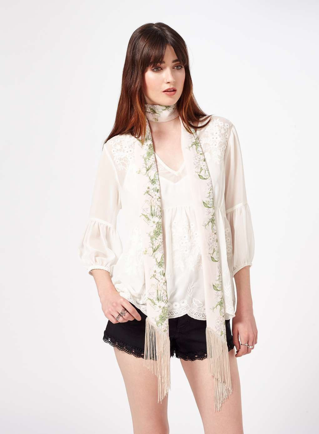 221d62e0d72a7 Ivory V-Neck Embroidered Tee - Tops - Clothing - Miss Selfridge Europe 24