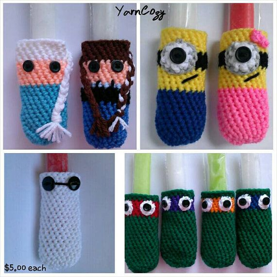 Crochet Popsicle Holders, Minion Popsicle Holder, Anna Popsicle Holder, Elsa Popsicle Holder, Ninja Turtle Popsicle Holder, Baymax Popsicle Holder, Check out this item in my Etsy shop https://www.etsy.com/listing/235543769/crochet-popsicle-holder-elsa-popsicle or find me @yarncozy on instagram and YarnCozy On Facebook