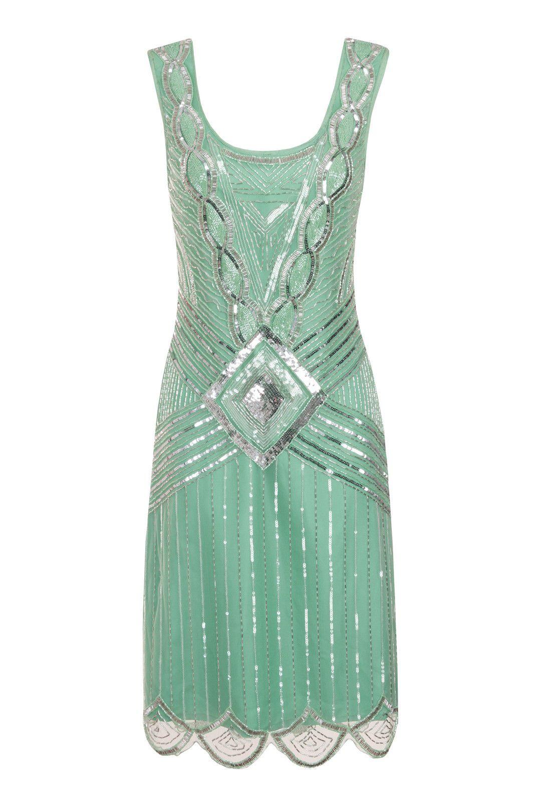 Mint Sequin Charleston Fler Uk 10 Gatsby Dress 20 S Art Deco Green Ebay