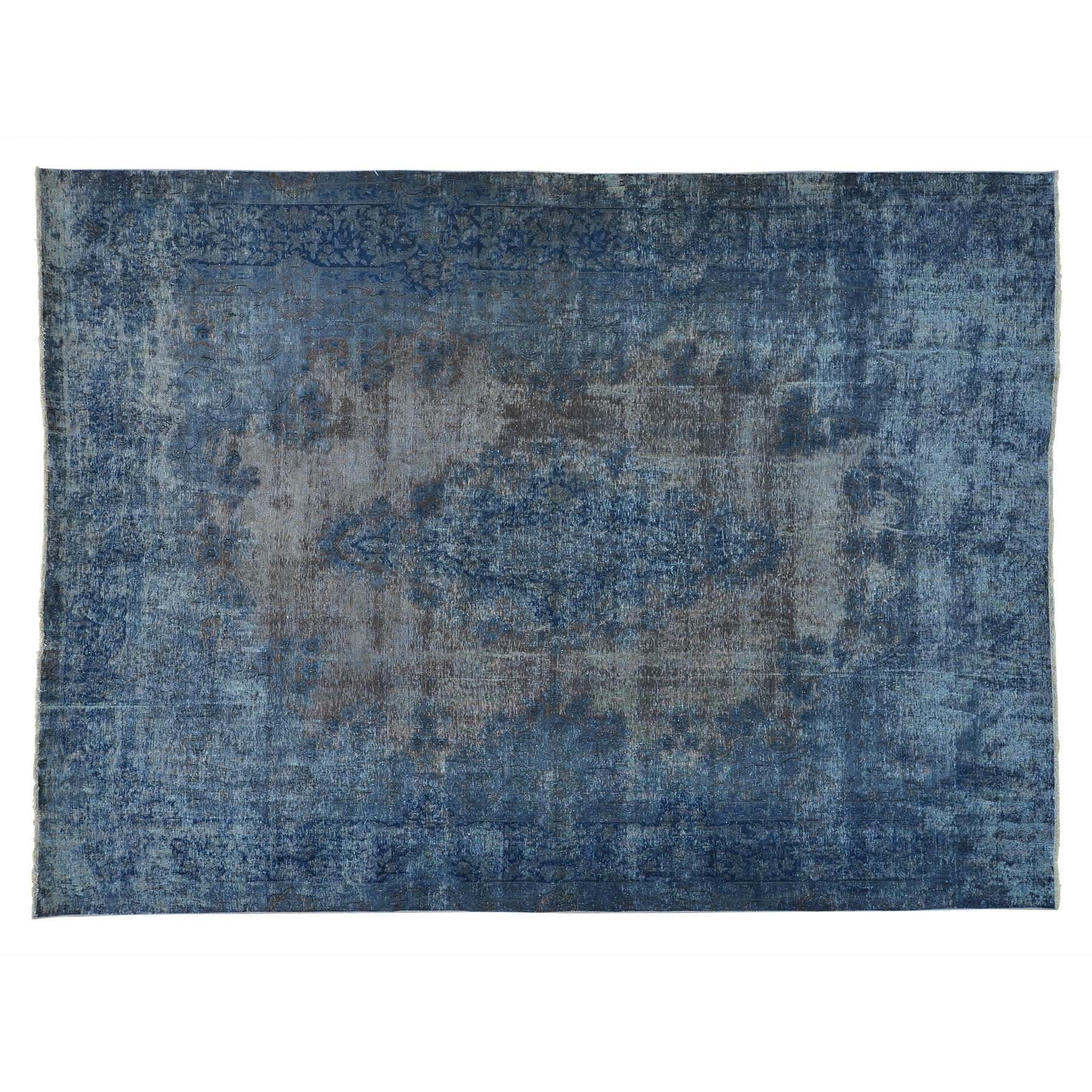 "1800getarug Refurbished Overdyed Worn Down Old Persian Kerman Hand-Knotted Rug (9'7 x 13') (Exact Size: 9'7"" x 13'0""), Blue, Size 10' x 12' (Wool, Oriental)"