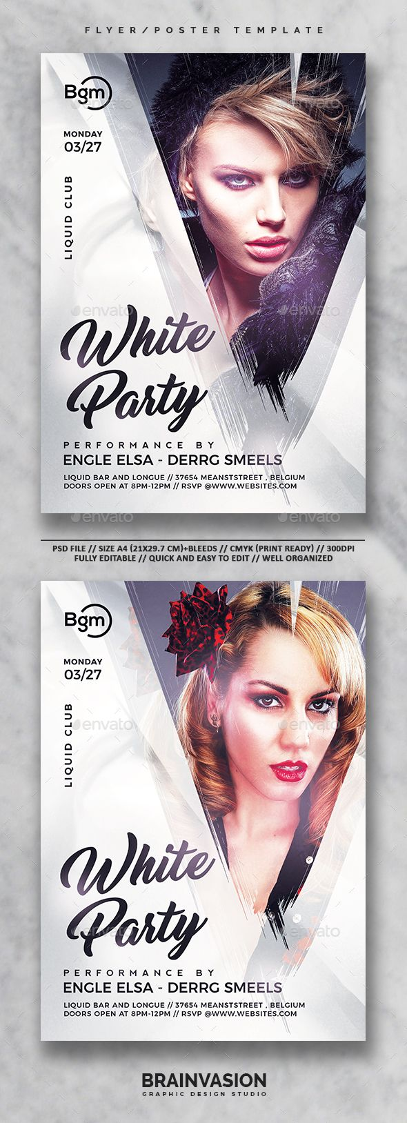 White Party Flyer/Poster Template Vol.01 | Party flyer, Club poster ...