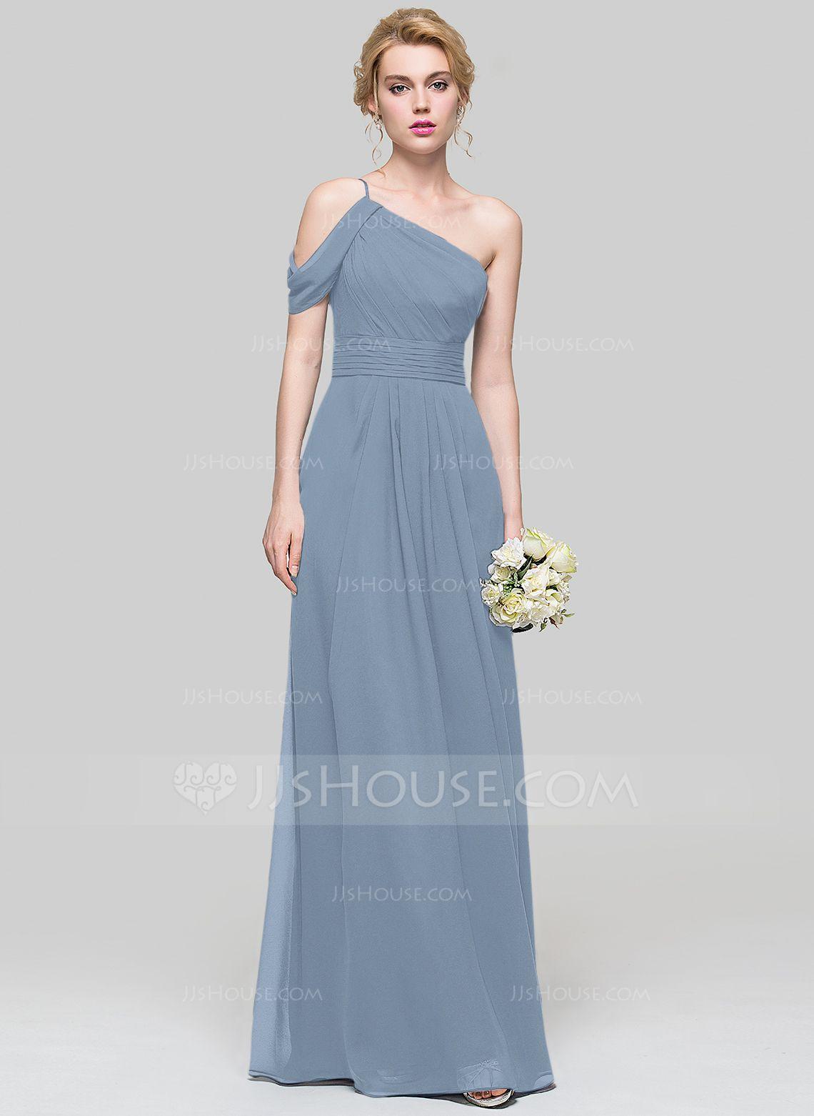 3f1ee532f3e A-Line Princess One-Shoulder Floor-Length Chiffon Bridesmaid Dress With  Ruffle (007090199) - JJsHouse