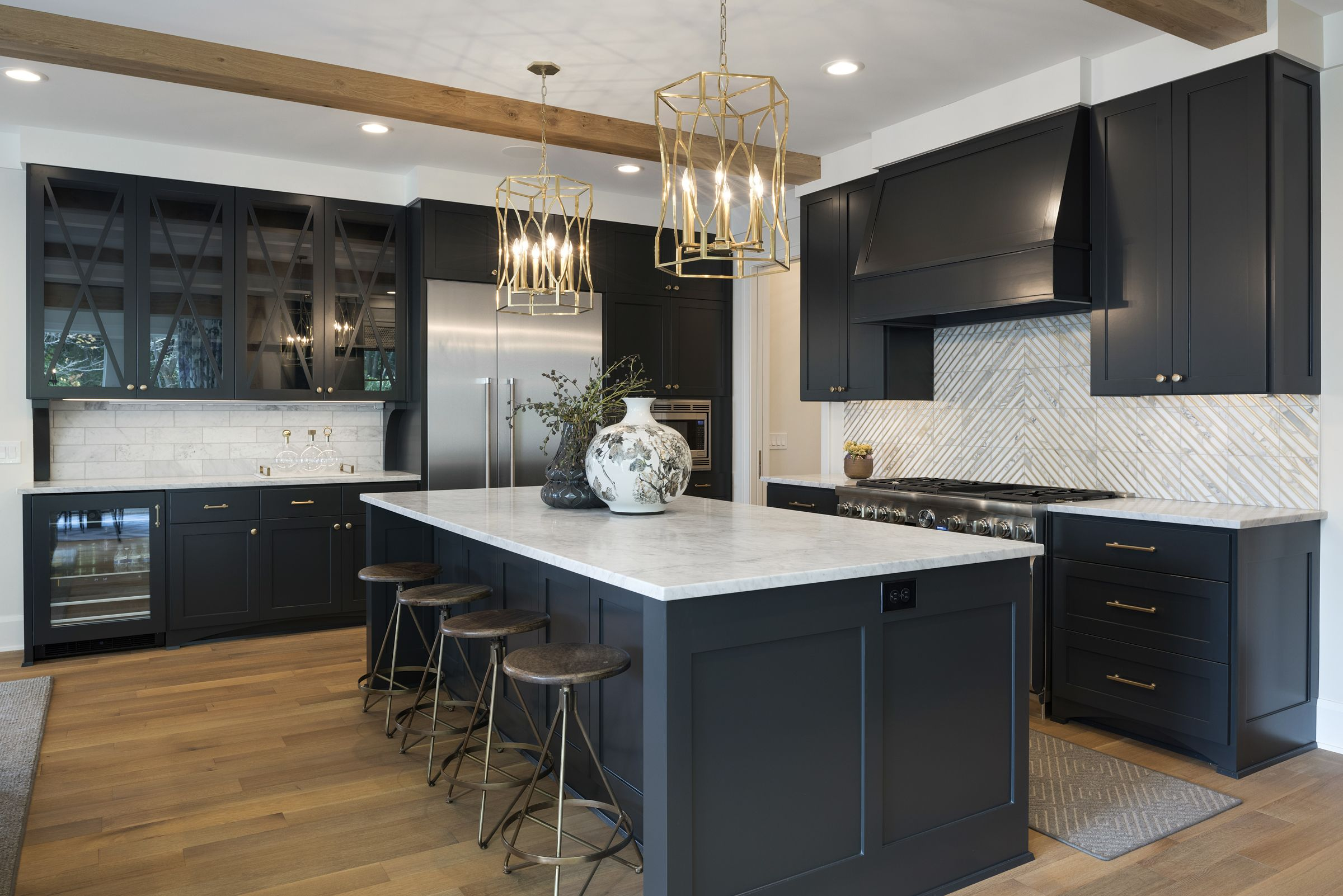 Black Kitchen With Marble Countertops Dining Room Wainscoting Wainscoting Kitchen Rustic Kitchen