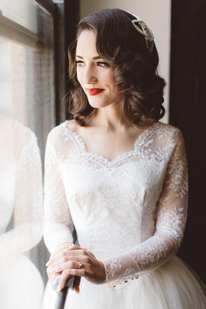 Vintage Disney Inspired Wedding in Los Angeles | Vintage bridal hair ...
