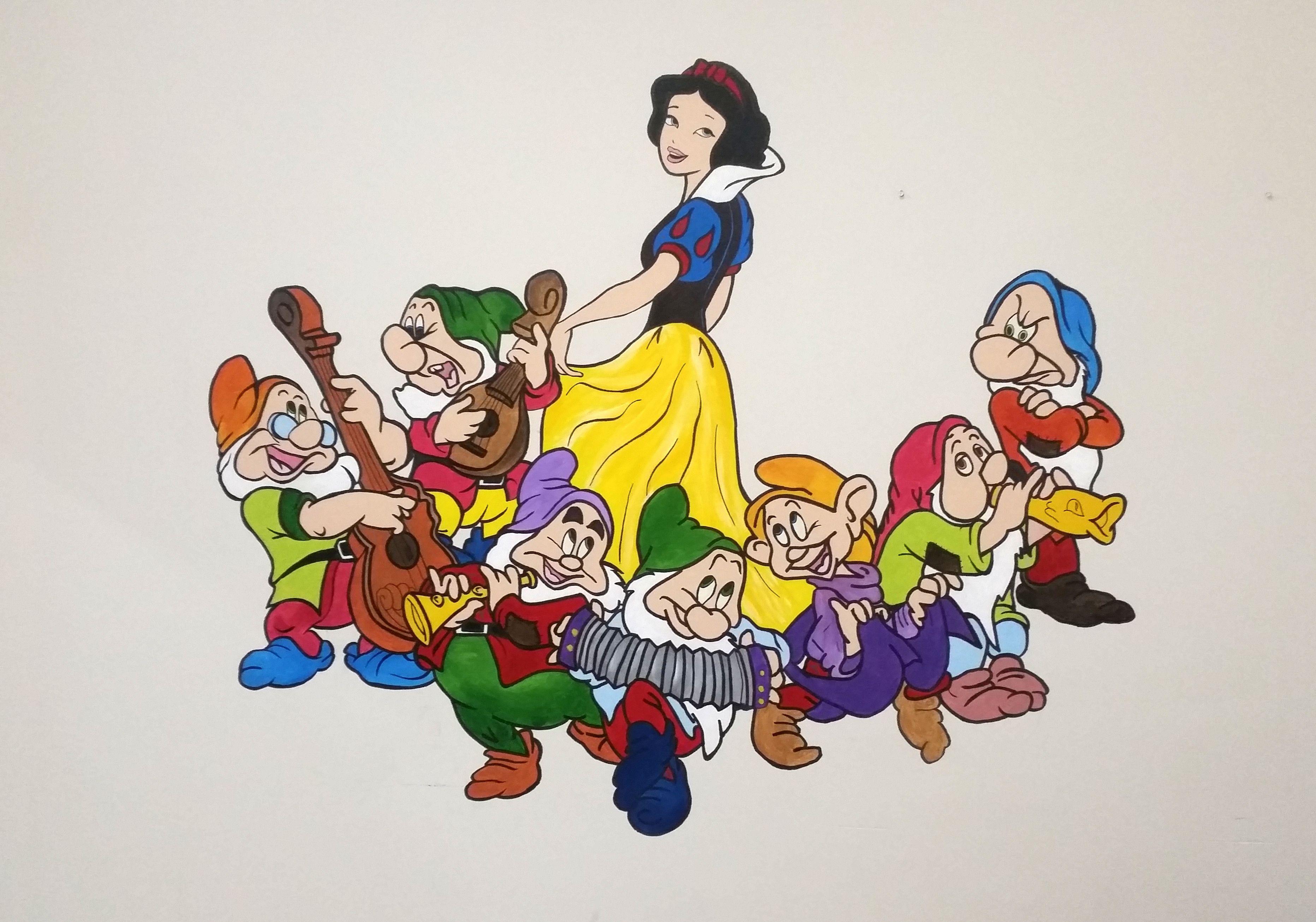 Pamuk Prenses Ve Yedi Cuceler Akrilik Boya Kullanildi Sanat