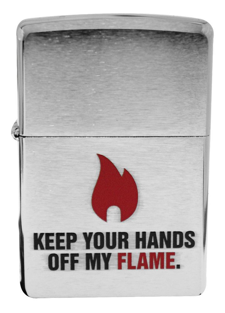 Zippo 28649 Keep Your Hands Off My Flame Brushed Chrome Windproof Lighter NEW