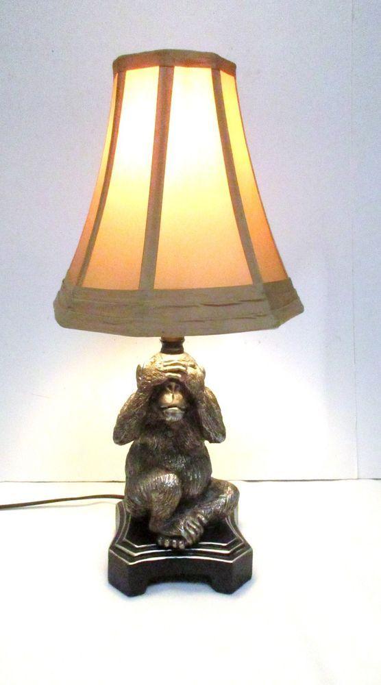 Exotic Lamp Shades monkey lamp see no evil monkey light silver resin tan shade exotic
