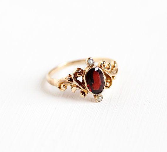 Antique Victorian 10k Rose Gold Garnet Seed Pearl Ring Size 7 Vintage 1900s Red Gemstone January Birthstone Fine Swirled Filigree Jewelry Filigree Jewelry Jewelry Fine Gold Jewelry