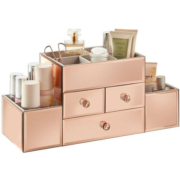 Amazoncom Beautify Mirrored Rose Gold Glass Jewelry Box Cosmetic