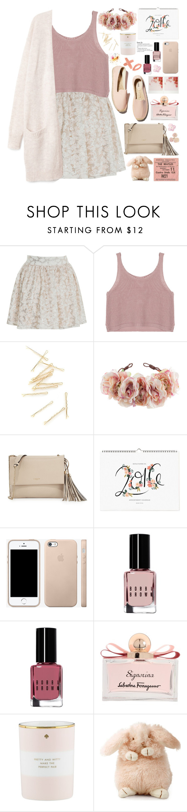 """2231. Enjoy the little things."" by chocolatepumma ❤ liked on Polyvore featuring Miss Selfridge, Soludos, Rock 'N Rose, Lanvin, Bobbi Brown Cosmetics, Salvatore Ferragamo and Kate Spade"
