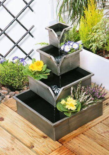 Bepflanzbarer Gartenbrunnen Kaskadenbrunnen In Silber Amazon De Garten Gartenbrunnen Garten Brunnen