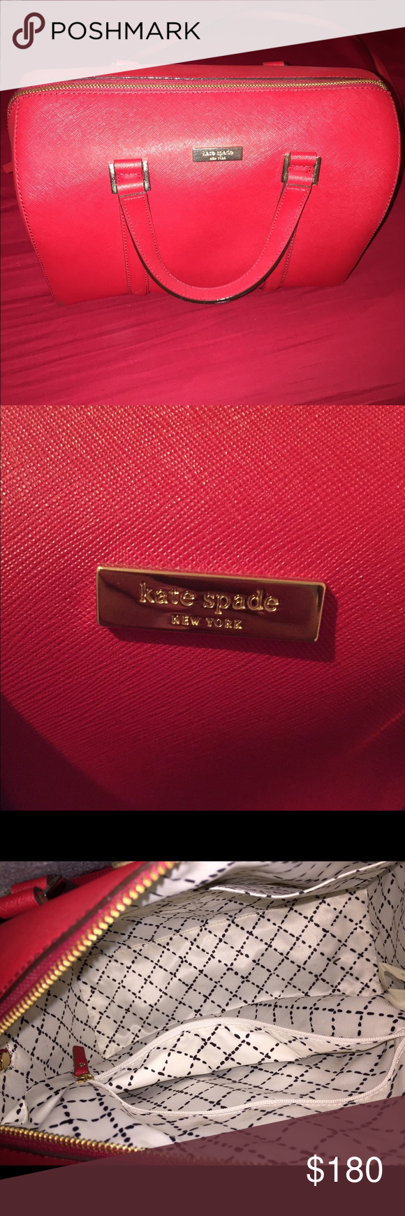 Red Kate Spade handbag 100% authentic! Got it about a year ago at a Kate Spade Store. Used about 5 times, an amazing bag & extremely spacious! Don't need it anymore so selling! kate spade Bags Shoulder Bags