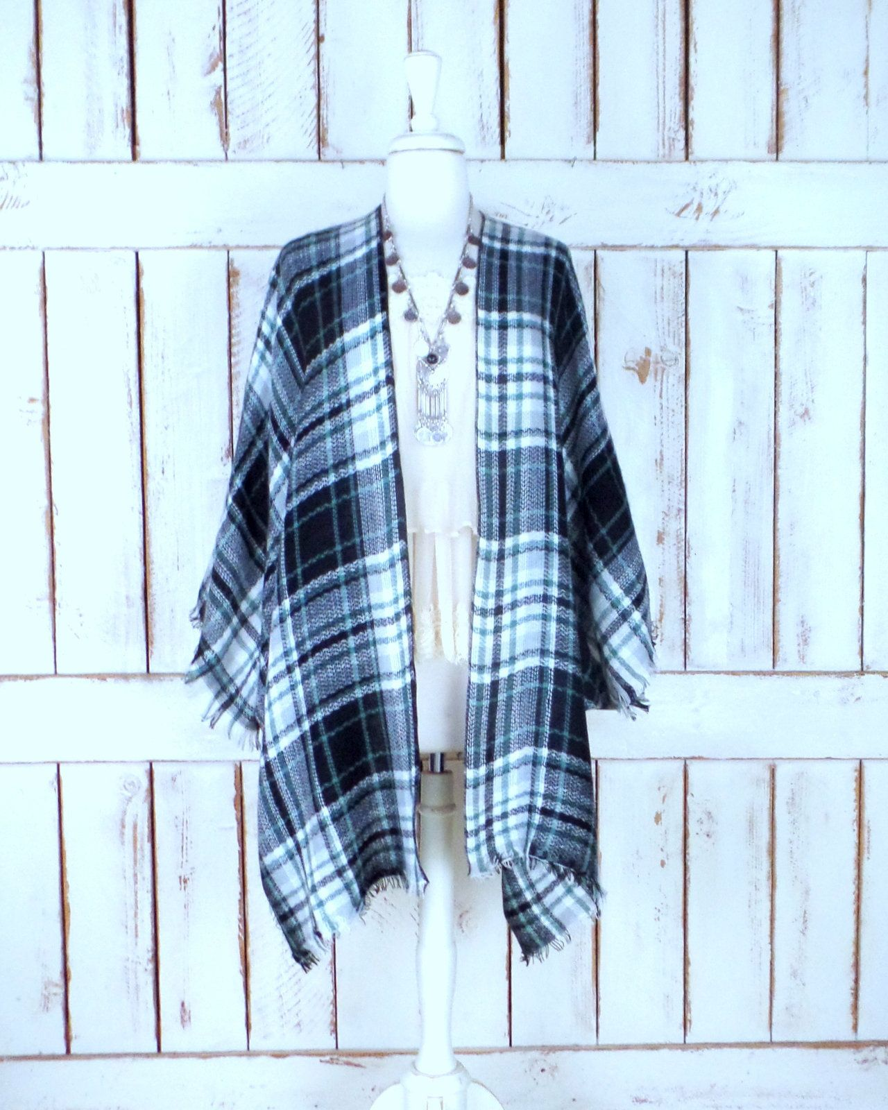 880735182 Plaid handmade woven fringe blanket kimono cover up/black/white/grey/green/flannel  checker cardigan wrap poncho/sml/plus size/one size by ...
