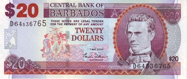 Barbados 20 Dollars Bill