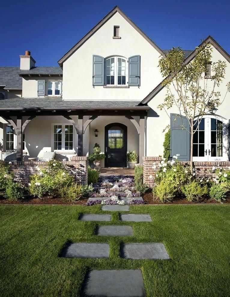 Stucco House Gray Stucco White Trim ... (With Images