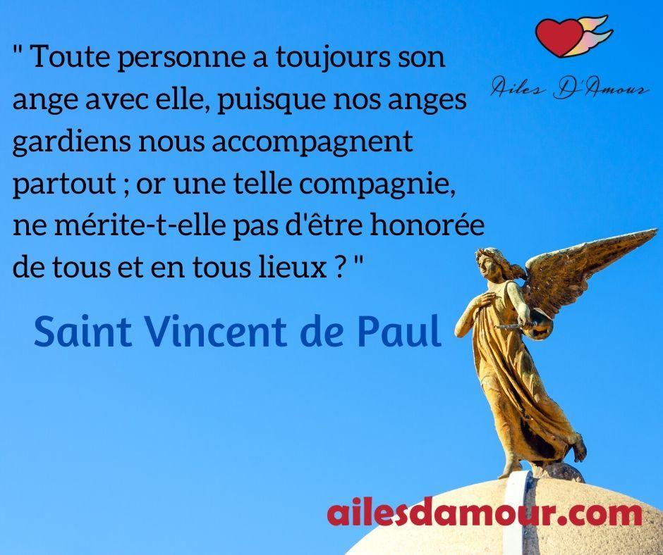 Toute Personne A Toujours Son Ange Avec Elle Saint Vincent De Paul Citations Motivantes Ange Gardien