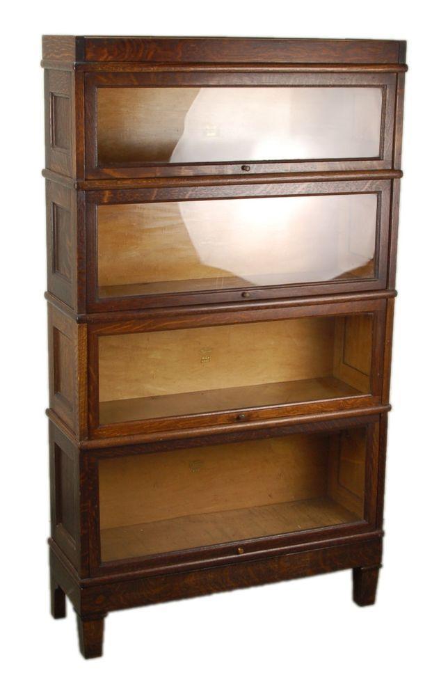 Macy Vintage Oak 4 Stack Barrister Bookcase With Paneled Sides