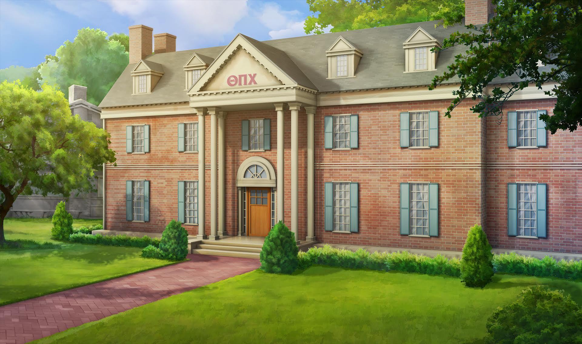 Ext frat house day episode pinterest anime for Exterior background
