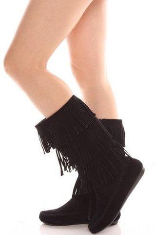 Black Fringe Boots $35 #black #fringe #moccasin #boots
