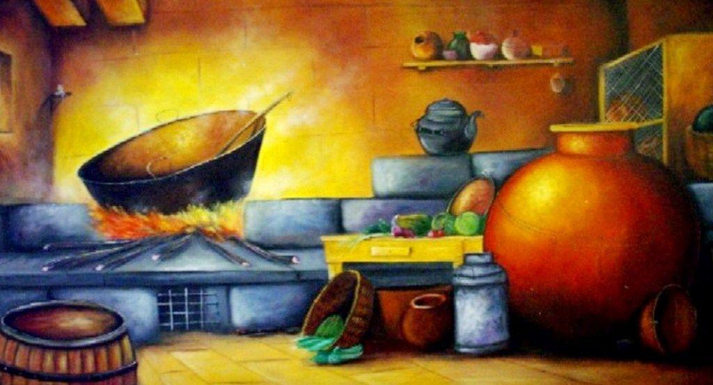 Cuadros de pintura cocina antigua buscar con google - Pinturas para cocinas ...