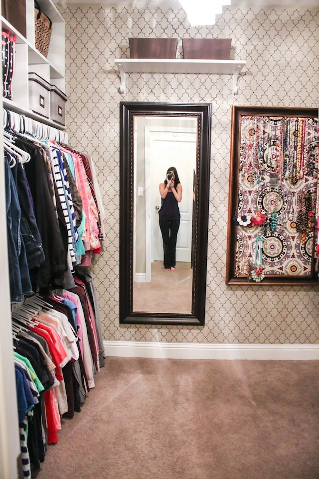 closet organization ideas stenciled closet with diy jewelry board closet inspiration. Black Bedroom Furniture Sets. Home Design Ideas