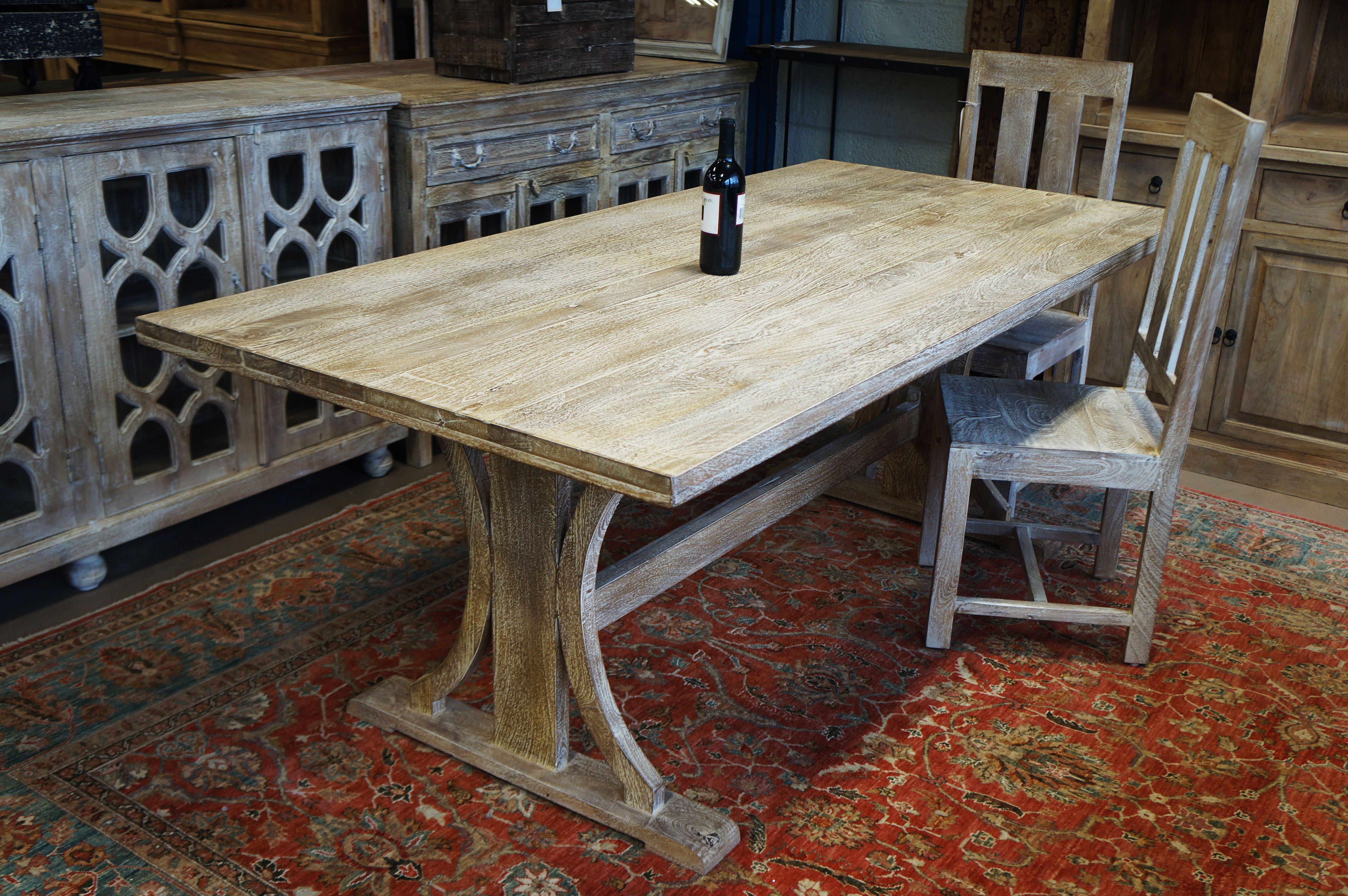Solid Wood Dining Table With Two Legs In The Center Hand Crafted