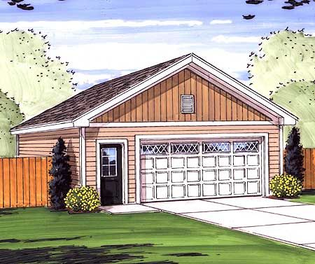 Plan 62481DJ Simple 2 Car Garage with Man Door – Simple 2 Car Garage Plans