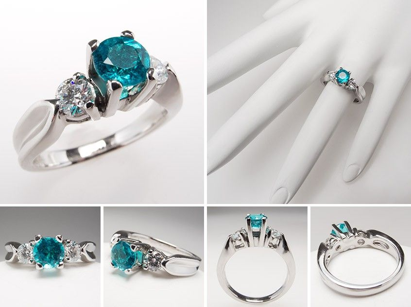 Awesome  Carat Paraiba Tourmaline Engagement Ring w Diamond Accents Platinum