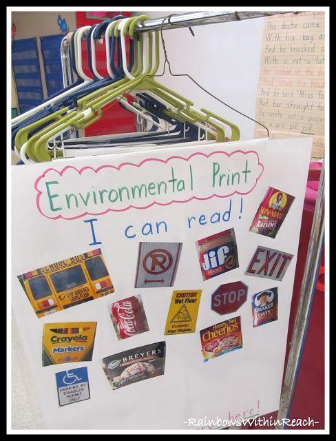 Anchor charts for kindergarten hanging on hangers in environmental print also rh pinterest