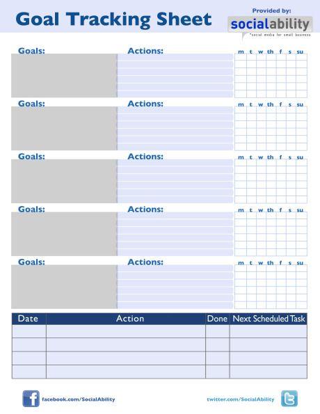 Goal Tracking Sheet Goal Tracking