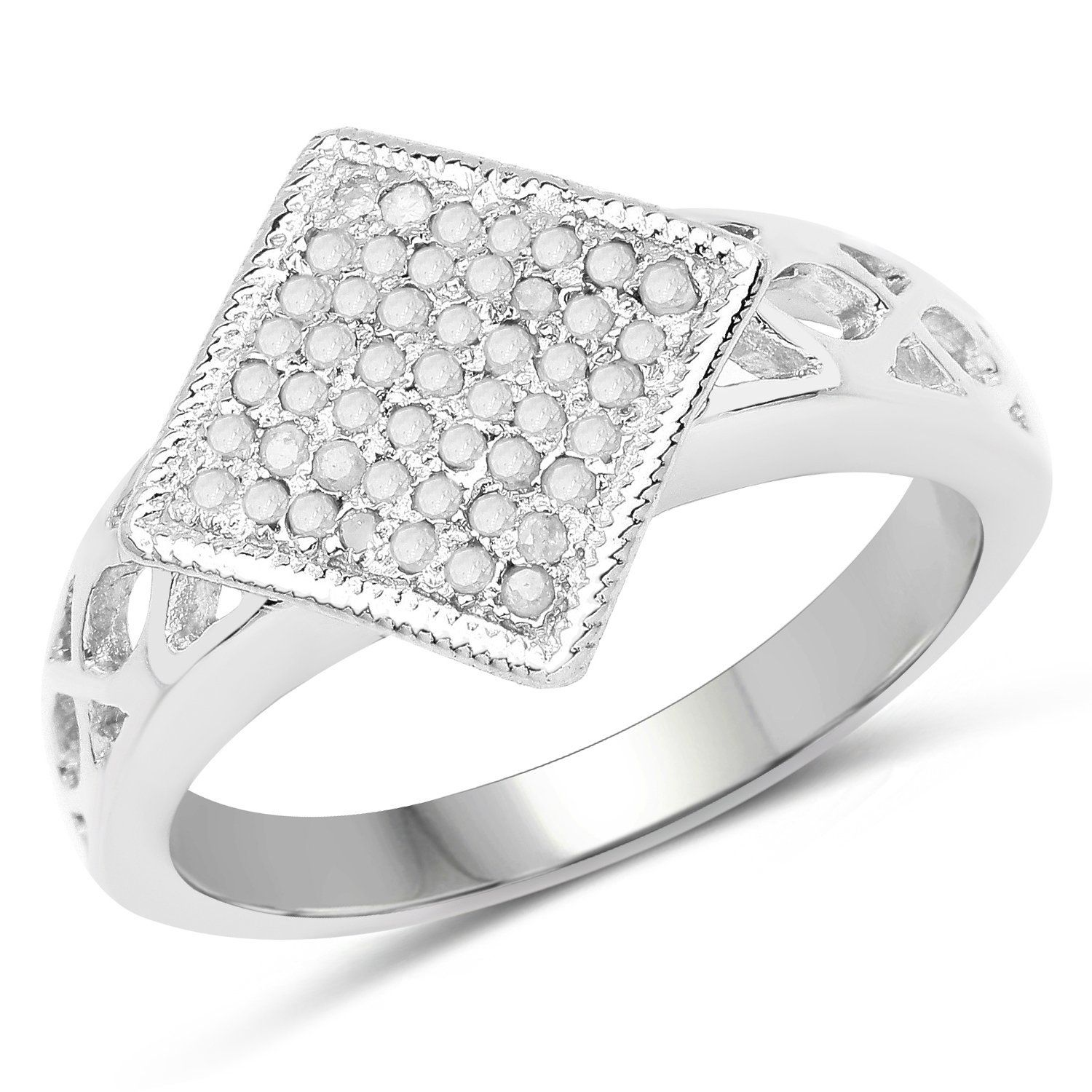 Genuine Round Diamond Ring in Sterling Silver Size 8 00